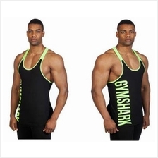 Gym Shark Side Green Wording Singlet (Gym Fitness Sport Baju)