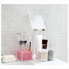 Crystal Clear Makeup Brush Holder Brush Storage Box with Pearl Beads