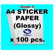 x100pcs A4 STICKER PAPER (Glossy) 160gsm HIGH QUALITY Label Stickers