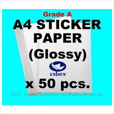 x50pcs A4 STICKER PAPER (Glossy) Grade A HIGH QUALITY Label Stickers