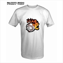 FIRE BASEBALL T SHIRT WHITE/RED/BLACK (T155)