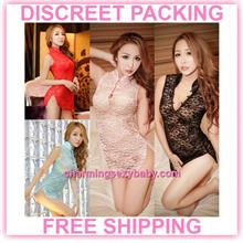 Sexy Lingerie Lace Cheongsam Dress Costume Sleepwear (4 Colors)
