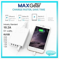 ALX 6 USB 10.2A Fast Charger 51W Power Adapter iPhone Samsung Xiaomi