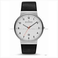 SKAGEN SKW6024 Men's Ancher Classic Date Leather Strap White Black