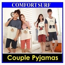 Women Men Night Dress Sleepwear Couple Pajamas Cotton Short Sleeved
