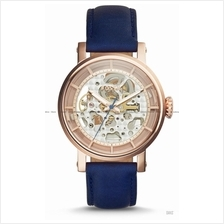 FOSSIL ME3086 Women's Original Boyfriend Auto Skeleton Leather Blue