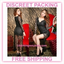Sexy Lingerie Black Lace Long Cheongsam Dress Costume Partywear