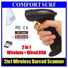 2in1 ALANDA CT007S Wireless + Wired USB Laser Barcode Scanner +Memory