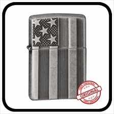 Zippo 28974 US Flag Armor Antique Silver Free Engraving  & Flint