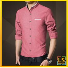 Chinese Fashion Men Long Sleeve Stand Collar Slim Fit Shirt)