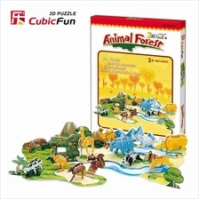 Cubicfun 3d puzzle paper jigsaw Animal Forest model diy toys for kids