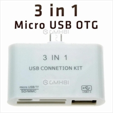 3in1 Micro USB OTG Card Reader Kit Samsung Sony Xiaomi Huawei Lenovo