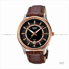 CASIO BEM-119GL-1AV BESIDE elegance date leather strap rose gold black