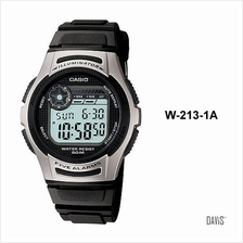 CASIO W-213-1AV STANDARD 5 alarms stopwatch 2 time resin strap black