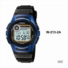CASIO W-213-2AV STANDARD 5 alarms stopwatch 2 time resin strap blue