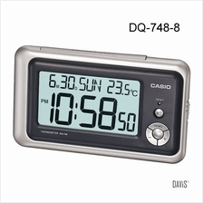 CASIO DQ-748-8 Alarm Clock w/ date, temperature, snooze grey silver