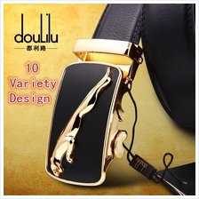 DOULILU Men Genuine Leather Automatic Buckle Waist Belt Tali Pinggang