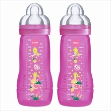 MAM Baby Feeding Bottle 330ml Twin Pack - Pink