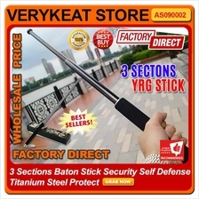 3 Section YRG Baton Stick Security Self Defense Titanium Steel Protect