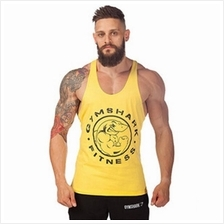 gym shark yellow singlet ( Gym Fitness Sport Baju)(high quality cotton