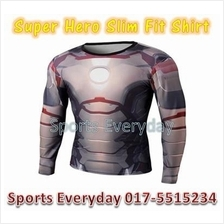 Super Hero Slim Fit Compression Shirt baju- Iron Man 4 Long Sleeve