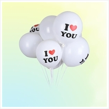 50-Pack Surprise 12 Inch White Latex Balloon I LOVE YOU Balloons