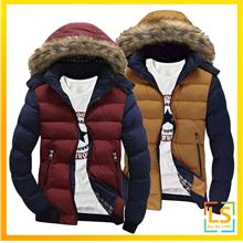 Korean Design Men Long Sleeve Hooded Winter Jacket Coat