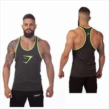 Gym Shark Green Head Singlet ( Gym Fitness Sport Baju) (high quality)