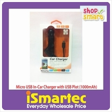 [Wholesale] iSmartec - Micro USB In-Car Charger with USB Plot (1000mAh