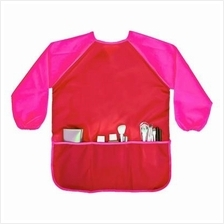 Long Sleeve Children's Art Smock Waterproof Painting Apron - Red