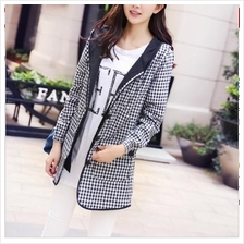 JF T19132 Plus Size Trendy Hooded Plaid Windbreaker Jacket