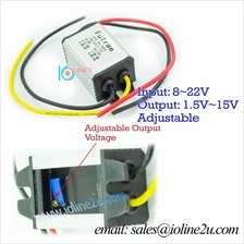 8-22Vdc to 1.5-15V 3A Adjustable power converter step down buck fully sealed 4