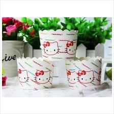 Hello Kitty Stripe Cupcake Liner Muffin Case Baking Paper Cups