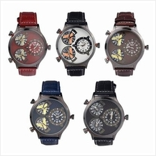 5 Colors Fashion OULM Brand Men Three Time Zones Leather Sports Watch