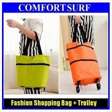 2 in 1 Fashion Foldable Shopping Trolley Bag Cart Wheel Carrying Pocuh