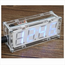 4-Digit DIY LED Electronic Clock Microcontroller 0.8inch Digital Tube