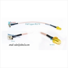 Low Loss TS9 to RP-SMA Female converter cable Angled L 90 Degree RG174 Huawei