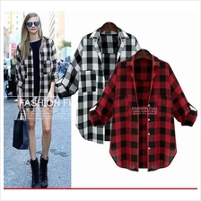 JF T18683 Plus Size Casual Plaid Shirt - 2 Colors