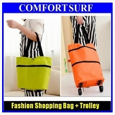 2 in 1 Fashion Foldable Shopping Trolley Bag Cart Wheel Carrying Pouch