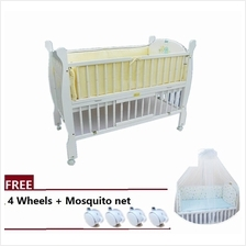 8 Multi Functional Baby Wooden Cot PG506 (130x70cm) Free Mosquito net