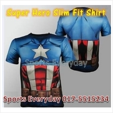Super Hero Slim Body Fit Compression Shirt baju - Captain America 6