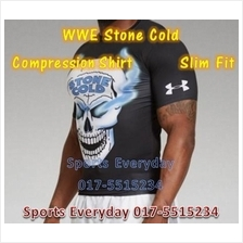 WWE WWF T Shirt Slim Fit Compression T Shirt  - Stone Cold Black