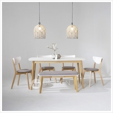 MF Design Estonia Natural Wood Table + 4 Chairs + 1 Bench Chair (Dining Set)