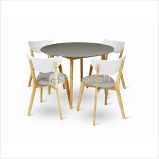 MF Design Estonia Natural Wood 1 + 4 Dining Set (Round Table)