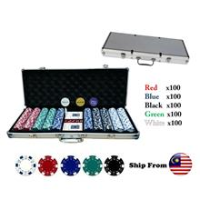 Poker Set With 500 Chips c/w Aluminium Case Casino Games Fast Shipping