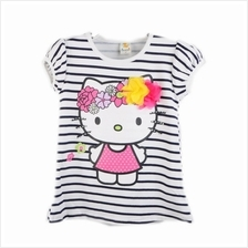Lil Little Hello Kitty Printed With 3D Flower Stripes Shirts Black