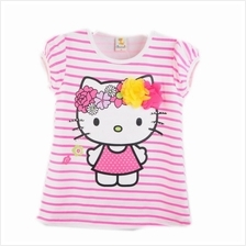 Lil Little Hello Kitty Printed With 3D Flower Stripes Shirts Pink