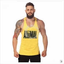 Universal Animal Yellow Singlet baju sport gym (high quality cotton)