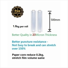 Free Delivery 2pcs A grade Stretch film 500mmx2Kg in 23micron