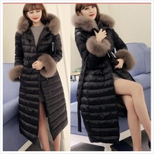 JF T18944 Luxury Fur Collar Thick Padded Long Winter Coat - 2 Colors